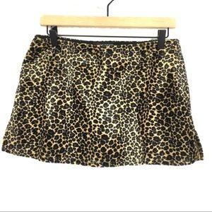 Leopard printed faux fur skirt mini skirt VINTAGE